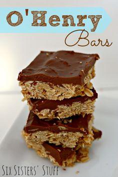 Six Sisters' Stuff: O'Henry Chocolate Oatmeal Bars