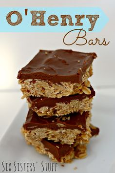 O'Henry Chocolate Oatmeal Bars...this looks quick, easy and tasty!