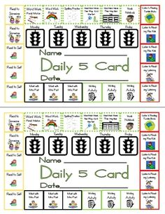 I created this punch card for my kids to use durin Daily 5. They must do something from each color every day. After they complete one color, they c...