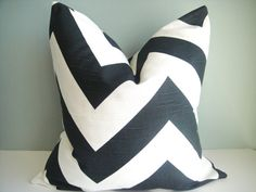 SET Of TWO-18x18 Designer Pillow In Zippy Charcoal Black /White Contemporary Print. $50.00, via Etsy.