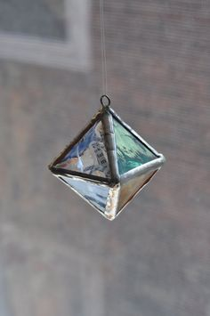 Dr Seuss Happy Birthday to You, hanging octahedron platonic solid, by ABJglassworks on Etsy