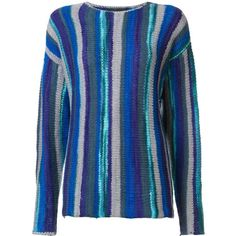 The Elder Statesman striped jumper (70.705 RUB) ❤ liked on Polyvore featuring tops, sweaters, blue, striped top, stripe sweaters, blue jumper, jumpers sweaters and blue cashmere sweater