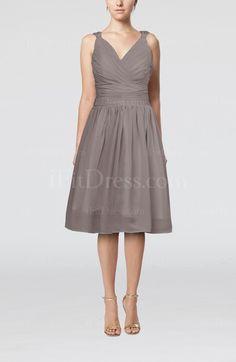 Simple A-line Sleeveless Zipper Chiffon Knee Length Bridesmaid Dresses