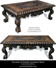 Old World Hand Painted Coffee and Side Tables. See it at accentsofsalado.com.