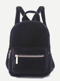 Black Pocket Front Double Handle Velvet Backpack — 0.00 € -------color: Black size: None