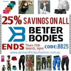 . MASSIVE BETTER BODIES SALE - Now On... While stock lasts. . SHOP⬆⬇ Use Code: BB25✅ www.gymandfitnessfashion.com.au @gymandfitnessfashion.com.au . Quality Style, SIZES from XS to XL . #gymandfitnessfashion #gff #sportswear #fitnessfashion # #fitgirls #fitmom #shelifts #girlswholift #fit #fitspiration #fitstagram #motivation #fitspo #shape #ifbb #running#fitness #leggings #healthy #lifestyle #dedication #yoga #bodybuilding #streetwear #running #zumba #follow #squats #healthy #gym