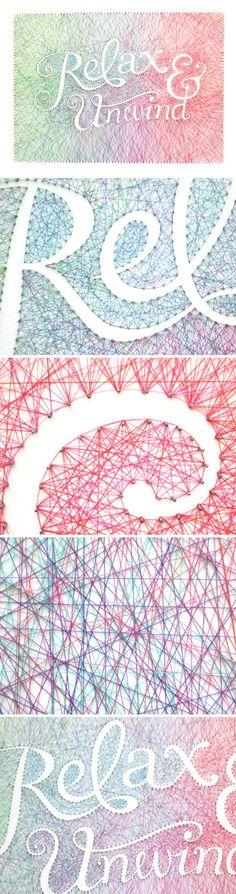 艺术家Dominique Falla利用钉子和长达数百米的线完成了这样的一件字体艺术作品。远观的效果非常惊艳!