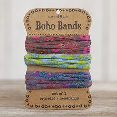 Inspired by our super-popular Boho Wraps, this set of 3 brown, green and grey Boho Bands can be worn as headbands, around a ponytail as hair bands or wrapped around your wrist for a unique and stylish bracelet. As cute as they are versatile! Boho Headband, Headbands, Life Band, Paper Store, Boho Diy, Natural Life, Hippie Boho, Hippie Life, Bohemian