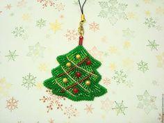 Купить Брелок для телефона сумочки Елочка - зеленый, брелок на сумку, брелок для телефона, брелок