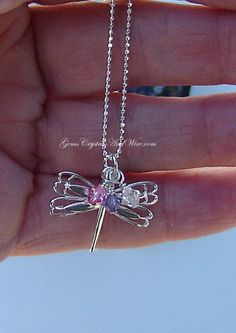 Sterling Silver Dragonfly Necklace | GemsCrystalsAndWire - Jewelry on ArtFire Your choice of 3 Swarovski Crystal charms !  #handmade  #christmas