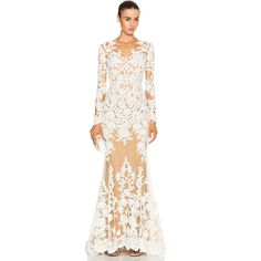 Zuhair Murad Lace Mermaid Gown (12.970 BRL) ❤ liked on Polyvore featuring dresses, gowns, white lace dress, beaded gown, white ball gowns, lace evening gowns and white gown