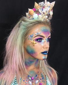 "499 Likes, 9 Comments - Rachel Bourne Makeup Artist (@rachbournemakeupx) on Instagram: ""More of my Mermaid.  #mermaidmakeup #mermaid #scales #halloweenglam #mermaidhair #seashells…"""