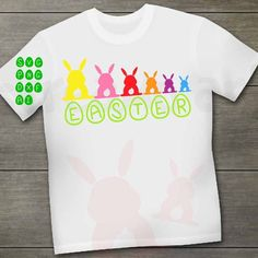 Happy Easter SVG Bunny My first easter eggs SVG design My First Easter, Happy Easter Bunny, Cutting Files, Silhouette Cameo, Easter Eggs, Cricut, T Shirts For Women, Boys, Creative