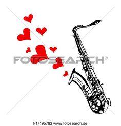 herz, liebe, musik, saxophon, spielender Große Clipart Grafik anschauen