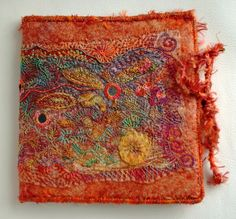 Lovely Nook/E-book reader cover. Art Fibres Textiles, Textile Fiber Art, Textile Artists, Beaded Embroidery, Hand Embroidery, Machine Embroidery, Book Wraps, Fabric Book Covers, Fabric Books