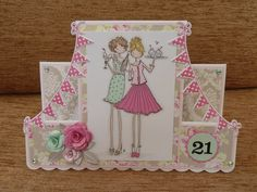 21st birthday card made with Stamping Bella Uptown Girls Felicity and Blair.