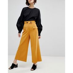 ASOS Clean Utility Pocket Culotte with Button Detail (€49) ❤ liked on Polyvore featuring pants, capris, yellow, wide leg cropped pants, zipper pocket pants, high waisted wide leg pants, yellow pants and high waisted pants
