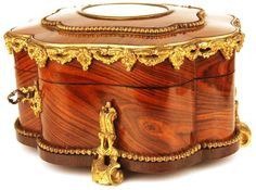 Antique French Napoleon III Tulipwood Vanity Box w/signed Pastel Medallion and Bronze Ormolu