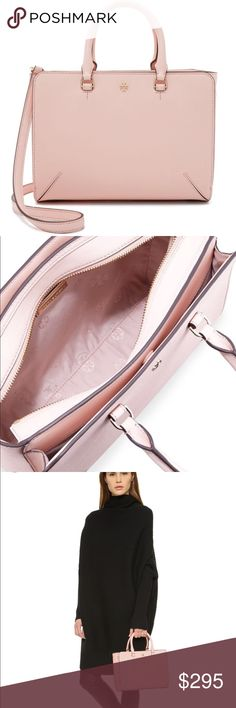 Tory Burch Small Satchel- Pale Apricot Lovely blush color Tory Burch crossbody/ satchel. Perfect size for organizing and essentials. Have been gently used. Tory Burch Bags Satchels