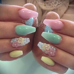 Most Popular Easter Nail Colors - My Daily Time - Beauty health fashion food drinks architecture design DIY Perfect Nails, Gorgeous Nails, Pretty Nails, Cute Nails, My Nails, Easter Color Nails, Easter Nail Art, Cute Acrylic Nails, Acrylic Nail Designs