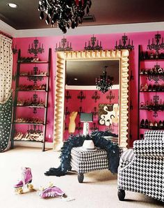 Fore my daughter's room.  Great color and fabric design combo.  Fuchsia, hot pink, black, closet, unusual ceiling treatment, chandelier, houndstooth upholstery, provincial pop punk, polka dot window treatment curtains, gold grand mirror
