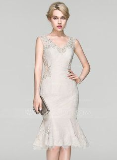 [US$ 146.69] Trumpet/Mermaid V-neck Knee-Length Lace Cocktail Dress With Beading Sequins (016094386)