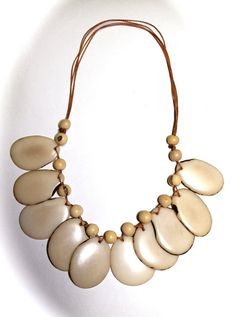 Leaf Sliced Tagua Necklace  EcoFriendly Jewelry by IngridFonseca, $30.00