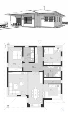 Bungalow House Plans Modern Contemporary European Architecture Design - Floor Plan ELK Bungalow 125 Layout by ELK Haus - Dream Home Ideas with Single Story - Inspiration Blueprint Drawing and Interior Beautiful House Plans, Modern House Plans, Small House Plans, U Shaped House Plans, Beautiful Beautiful, Building Plans, Building A House, Building Homes, Residential Building Plan