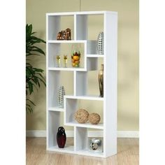 For Playroom - Enitial Lab Verena Contoured Leveled Display Cabinet/ Bookcase - White