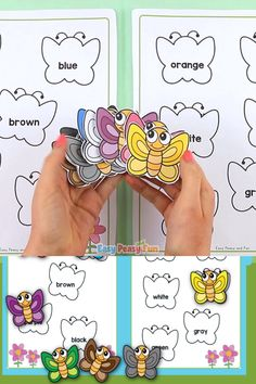Lets learn the words for colors with this fun butterfly colors file folder game. Preschool Learning Activities, Toddler Learning, Toddler Activities, Preschool Activities, Activities For Kids, Childhood Education, Kids Education, Montessori Education, Butterfly Colors