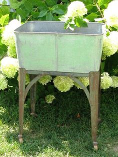 ebay: Vintage Galvanized Laundry Wash Tub Stand Cart - Would make a ...