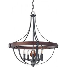 Traditional hoop style chandelier or pendant in a country farmhouse style that would be ideal for using in barn conversions as well as country homes and farmhouses. It would not look out of place even in older, Medieval style homes that would originally have been lit with dark rustic style forged wrought iron fittings.