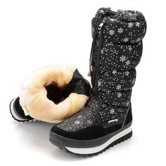Cheap boots orange, Buy Quality boots show directly from China boot cover Suppliers: black high version winter women boots snowflake upper lace-up zipper high leg boots female snow boots big size 40 41 warm boots Winter Shoes For Women, Snow Boots Women, Shoes Women, High Leg Boots, Mid Calf Boots, Women's Boots, Warm Snow Boots, Winter Boots, Boots 2017
