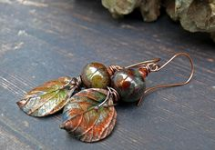 A Most Slender Twig - wearable art polymer clay copper gold green leaf ceramic rustic organic autumn earrings by PreciousViolet on Etsy