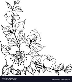 Royalty-Free Vector Images by Kotkoa (over Motif Floral, Arte Floral, Hand Embroidery Patterns Free, Embroidery Designs, Vinyle Cricut, Beautiful Flower Drawings, Floral Drawing, Flower Pattern Drawing, Creation Art