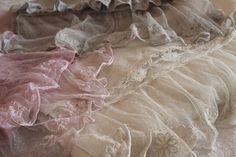 Romantic Prairie Burlap And Antique Pink French Lace Runner....Made To Order