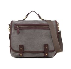 Canvas Satchel With Faux Leather Trim. This classic satchel serves both function and fashion. Canvas Satchel With Faux Leather Trim by Zalora has a unique detail, flap and zip pocket, this grey satchel bag made from synthetic leather combined with canvas. Go out of style!  http://zocko.it/LE1dY