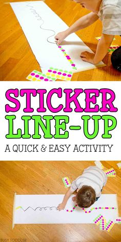 STICKER LINE-UP: A super simple activity for toddlers to play; quick and easy indoor activity; a fun fine motor skills game using stickers