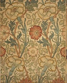 "William Morris wallpaper. ""pink and rose"" ca. 1890. Perfect period accent in stairwell."