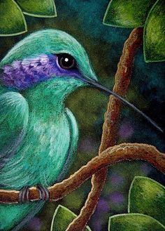 Art: TINY VIOLET EARED HUMMINGBIRD by Artist Cyra R. Cancel