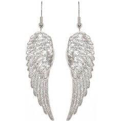"1 7/8"" Angel Wings Earrings In Silver Tone $9.99  I have some just like these, and they are one pair of earrings I love! And I never lose them!!"