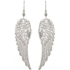 """1 7/8"""" Angel Wings Earrings In Silver Tone $9.99"""