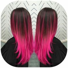 """""""Another view of this pink balayage because why not?"""" """"Another view of this pink balayage because why not? Cute Hair Colors, Pretty Hair Color, Beautiful Hair Color, Hair Dye Colors, Pink Ombre Hair, Hot Pink Hair, Hair Color Pink, Brown And Pink Hair, Violett Hair"""