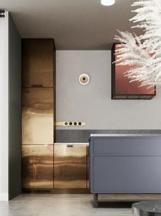 sophisticated brass details in the kitchen