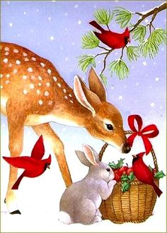 Good Afternoon sister and all,enjoy the rest of the day xxx❤❤❤💌🎍🎄❄⛄ Happy Christmas Eve Christmas Scenes, Christmas Deer, Christmas Animals, Vintage Christmas Cards, Christmas Pictures, Xmas Cards, Winter Christmas, Christmas Holidays, Christmas Crafts