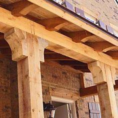 Cedar Bracket, Corbel, and Gable Ideas - Adding Cedar for Curb Appeal! 6 cedar corbel unfinished on porch post Wood Columns Porch, Porch Beams, Porch Pillars, House Columns, Front Porch Posts, Front Porch Design, Cedar Posts, Home Porch, Wood Joints