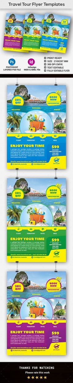 Travel Tour Flyer Templates by Creative-Touch This Flyer Template is perfectly suitable for promoting your Business. You can also use this template in multipurpose advertising.