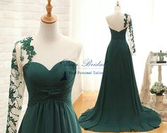 Dress Details: Fabrics: Chiffon, Satin Technics: Pleat (100% Handwork) Silhouette: A Line Neckline: Sweetheart Back: Keyhole Back Waist: Natural Built-in Bra: Yes Hemline/Train: Court Train Sleeve Length: One Sleeve Embellishments: Pleats, Sequins, Lace Appliques Shown Color: Emerald G...