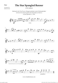 The Star Spangled Banner sheet music for flute, oboe, violin and cello