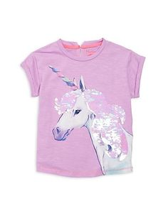 Hatley Little Girl's& Girl's Sequined Uinicorn Graphic Tee Designer Shoes, Designer Handbags, Online Shopping Stores, Jimmy Choo, Little Girls, Christian Louboutin, Kids Outfits, Graphic Tees, Burberry
